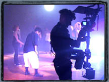 Carl with Steadicam rig shooting a dance performance with a DVX100.